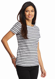 Kim Rogers Petite Striped Jacquard Textured Knit Top