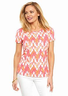 Kim Rogers Petite Short Sleeve Wave Print Top