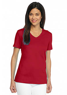 Kim Rogers Petite Solid V-Neck Tee
