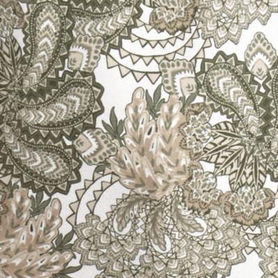 Kim Rogers Women Sale: Sage/Khaki Kim Rogers Tropical Paisley Print Top