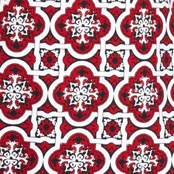 Women's T-shirts: Red Combo Kim Rogers Geo Lattice Square Neckline Tee