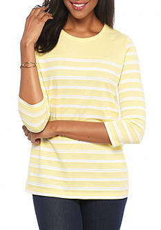 Kim Rogers Three Quarter Rib Striped Top