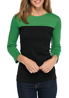 Kim Rogers Three Quarter Sleeve Ribbed ColorblockTop