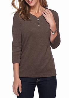 Kim Rogers Solid Split Neck Knit Top