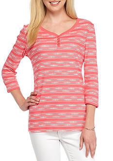 Kim Rogers Three Quarter Sleeve Sweetheart Neck Stripe Top