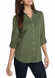 Kim Rogers Roll Tab Sleeve Button Front Top