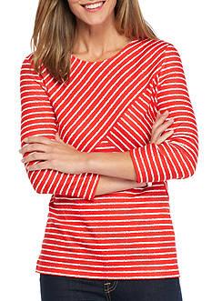 Kim Rogers Three Quarter Sleeve Crew Neck Stripe Knit Top