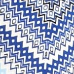 Kim Rogers Women Sale: Blue/Black Kim Rogers 3/4 Crisscross Chevron Top