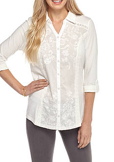 Kim Rogers Three-quarter Sleeve Woven Embroidered Knit Top