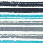Kim Rogers Women Sale: Turq/Gray/Navy Kim Rogers Three Quarter Sleeve Rib Knit Stripe Top