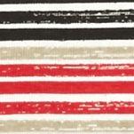 Knit Tops for Women: Red/Khaki/Black Kim Rogers Three Quarter Sleeve Rib Knit Stripe Top