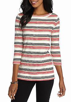 Kim Rogers Three Quarter Sleeve Rib Knit Stripe Top