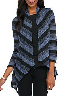 Kim Rogers Three Quarter Sleeve Stripe Drape Front Cardigan