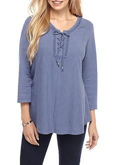 Kim Rogers 3/4 Sleeve Lace Up Textured Top