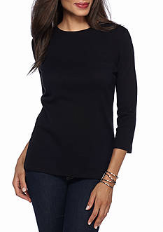 Kim Rogers Ribbed Crew Basic Solid Knit Top