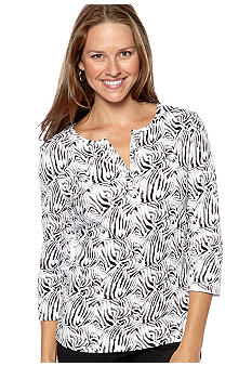 Kim Rogers® Split Neck Animal Print Top