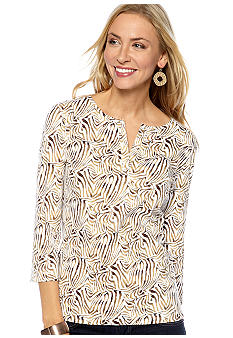 Kim Rogers Split Neck Animal Print Top