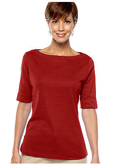 Kim Rogers Ribbed Boatneck  Elbow Sleeve Tee
