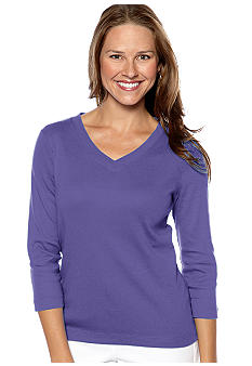 Kim Rogers Three quarter Sleeve 1X1 Rib V-Neck Tee
