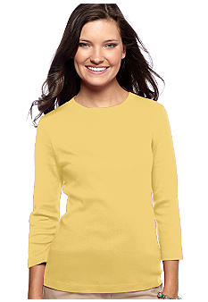 Kim Rogers Three Quarter Sleeve 1X1 Rib Crew-Neck Tee