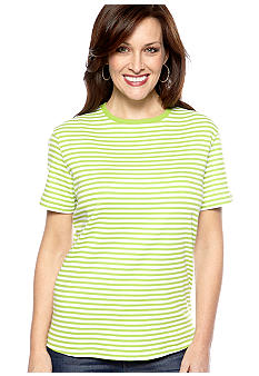 Kim Rogers Short Sleeve Stripe Crewneck Top