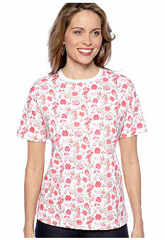 Kim Rogers Short Sleeve Crew Neck With Floral Print