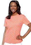 Kim Rogers® Short Sleeve Interlock Crew Neck Hot Spot Printed Tee