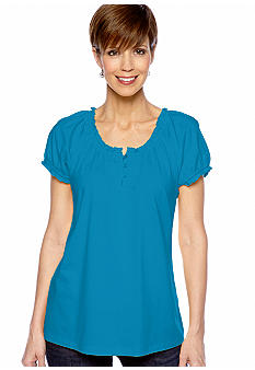 Kim Rogers Three Button Peasant Top