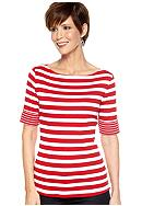 Kim Rogers® Elbow Sleeve Boatneck Stripe Top