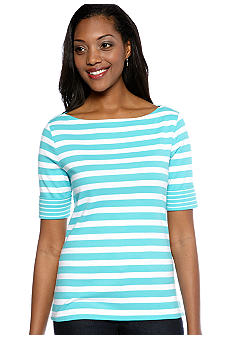 Kim Rogers Elbow Sleeve Boatneck Stripe Top