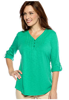 Kim Rogers® Y-Neck Pleated Henley Top
