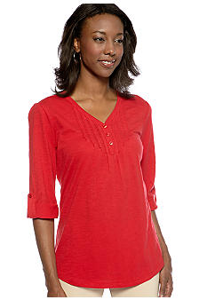 Kim Rogers Y-Neck Pleated Henley Top