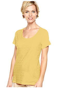 Kim Rogers Short Sleeve Scoop Neck Lace Front Tee