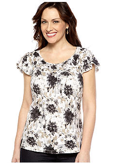 Kim Rogers Braid Neck Floral Tee