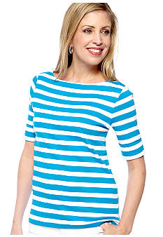 Kim Rogers Elbow Sleeve Stripe Printed Knit Top