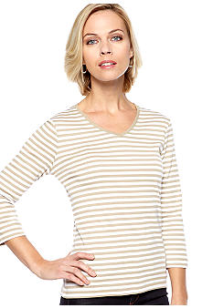 Kim Rogers Three Quarter Sleeve V-Neck Fun Stripe Top