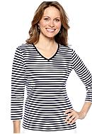 Kim Rogers® Three Quarter Sleeve V-Neck Fun Stripe Top