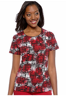 Kim Rogers Jewelneck Global Weave Print Tee