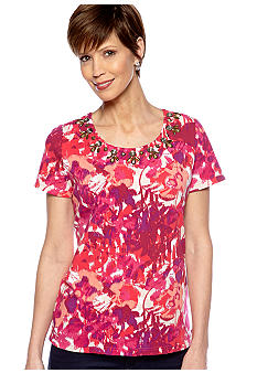 Kim Rogers Short Sleeve Embellished Scoop Neck Tee