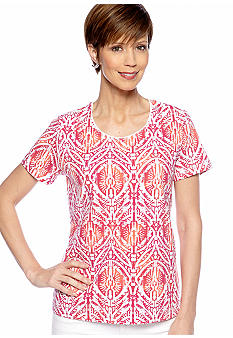 Kim Rogers Jewel Neck Medallion Printed Tee