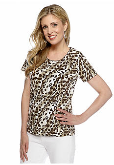 Kim Rogers Jewel Neck Cheetah Tee