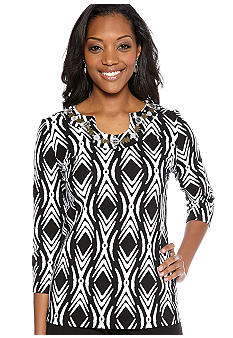 Kim Rogers Embellished Neck Top