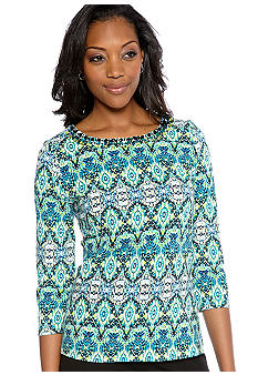 Kim Rogers Embellished Neck Print Top
