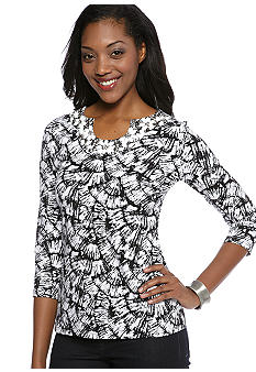 Kim Rogers Three Quarter Sleeve Horse Shoe Neck Embellished Tee