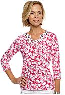 Kim Rogers® Three Quarter Sleeve Horse Shoe Neck Embellished Tee