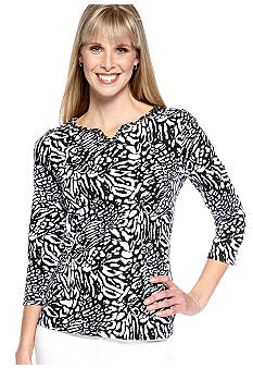 Kim Rogers Three Quarter Sleeve Embellished Neck Printed Tee