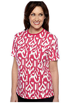 Kim Rogers Short Sleeve Interlock Crew Neck Ikat Tee