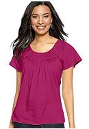 Kim Rogers® Short Sleeve Peasant Top with Pleated Neckline