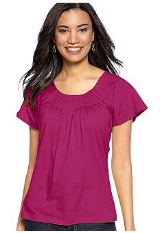 Kim Rogers Short Sleeve Peasant Top with Pleated Neckline
