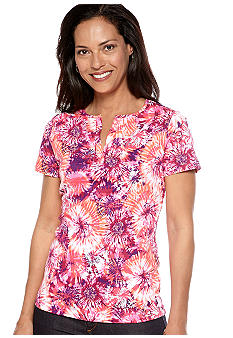 Kim Rogers Split Neck Tie Dye Top